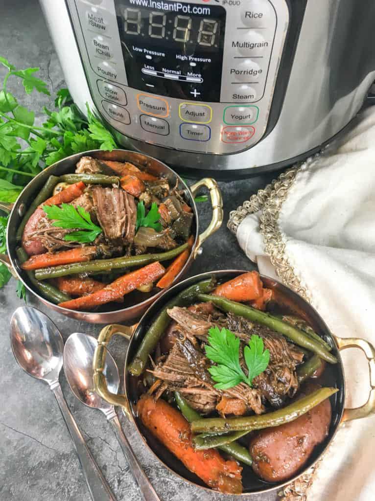 instant pot pot roast in bowls