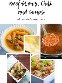 collage of 4 beef stew and beef soup photos