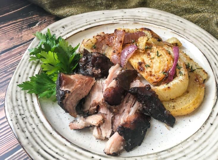 sliced pork roast on plate