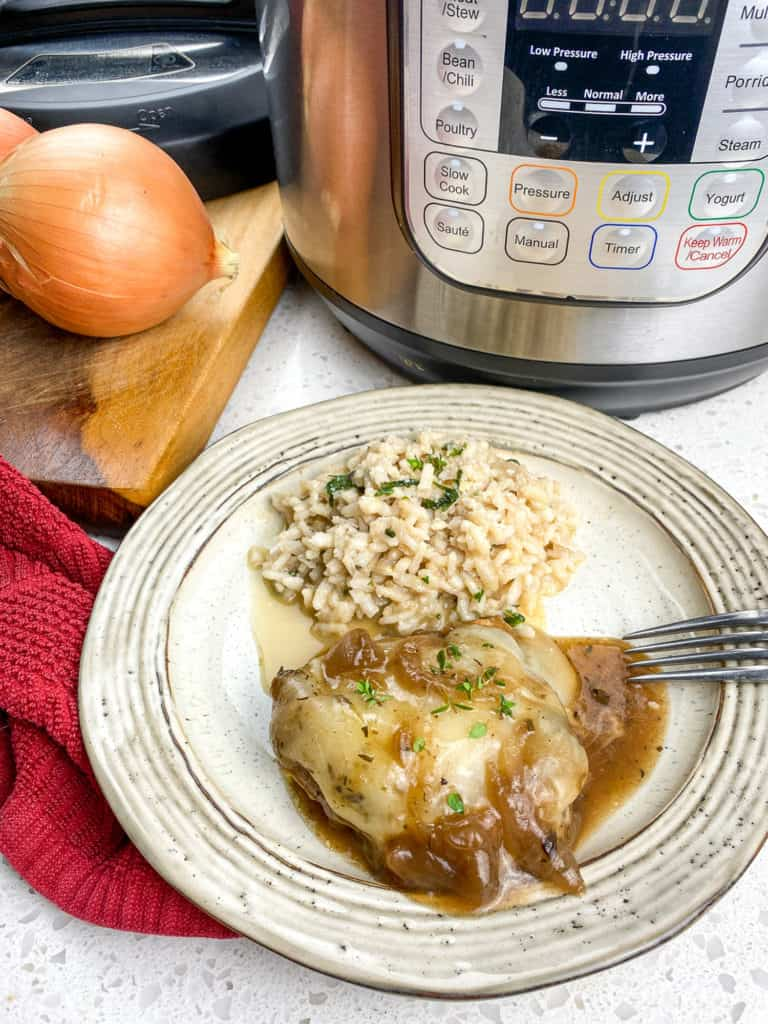 instant pot french onion chicken on plate