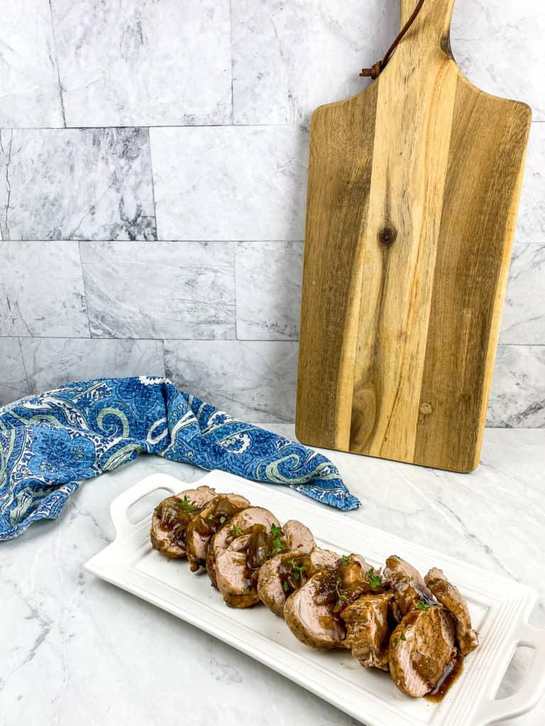 pork loin on white platter