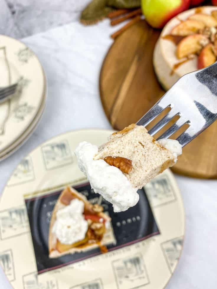 fork full of apple cheesecake bite