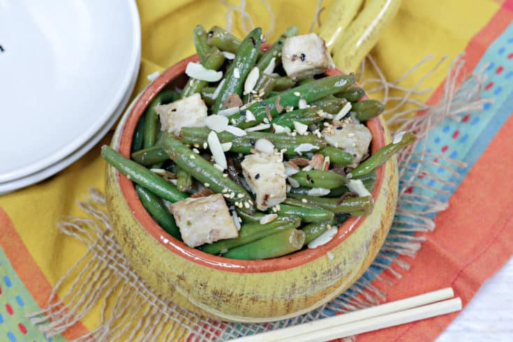 green beans and chicken in bowl