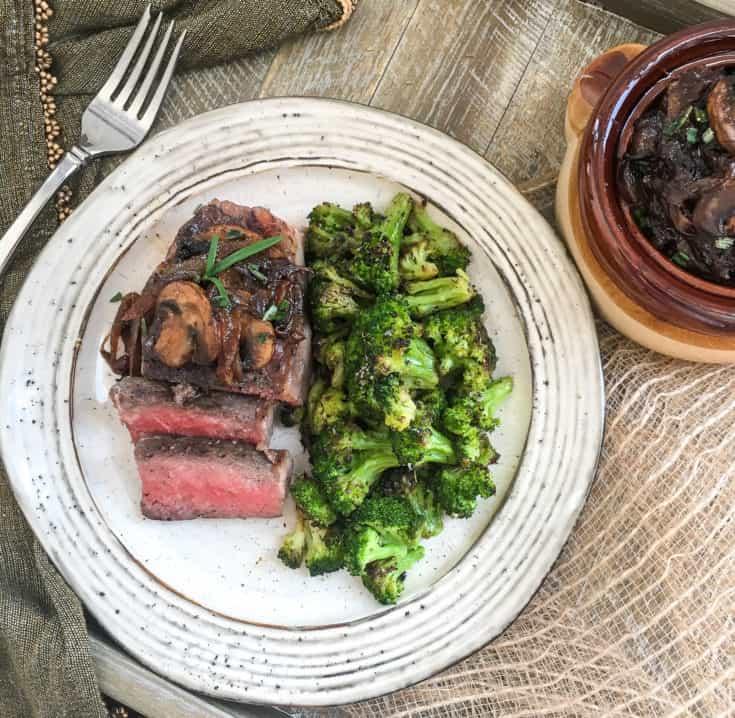 sous vide medium rare steak on plate
