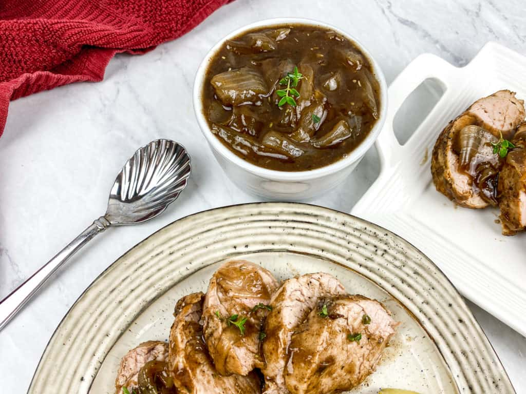 balsamic sauce in bowl and balsamic pork loin on plate