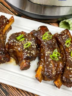 instant pot sticky ribs on white plate