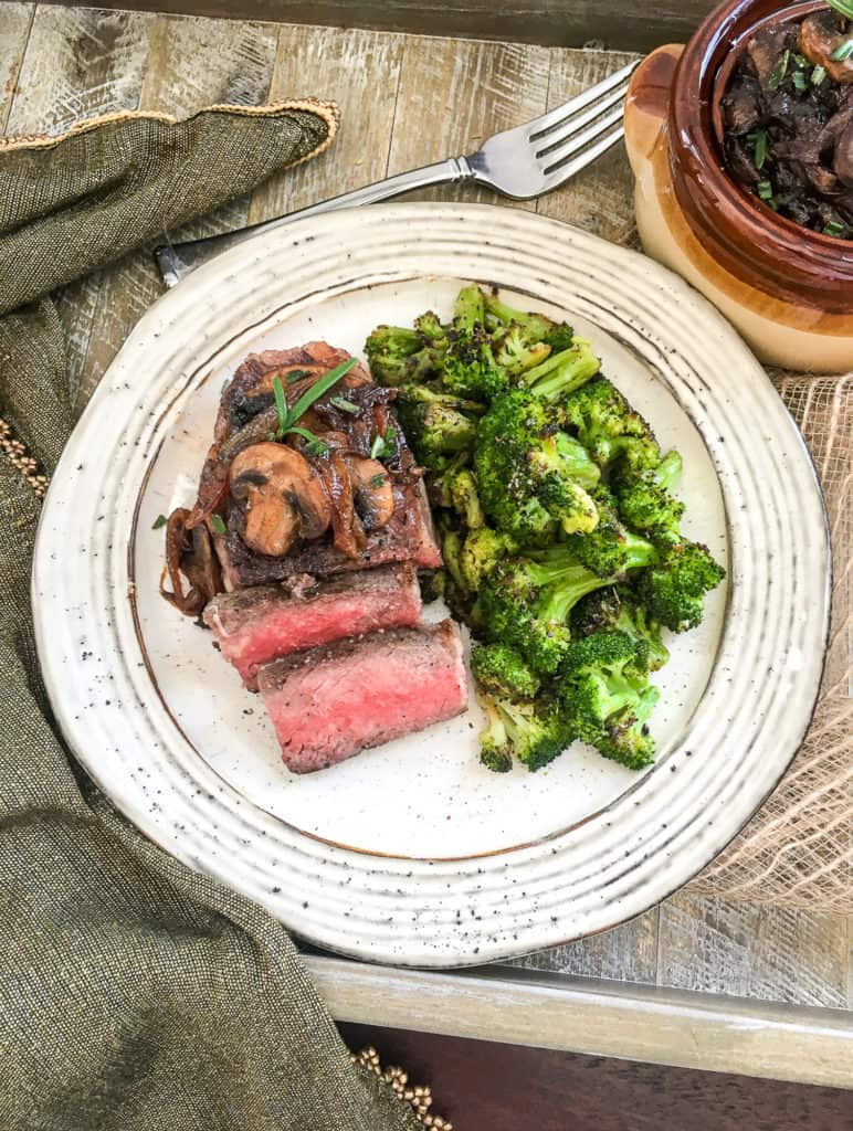 easy sous vide steak on plate with vegetables