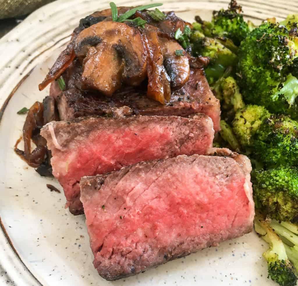 sous vide steak on plate