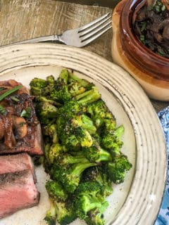 sous vide steak with vegetables on plate
