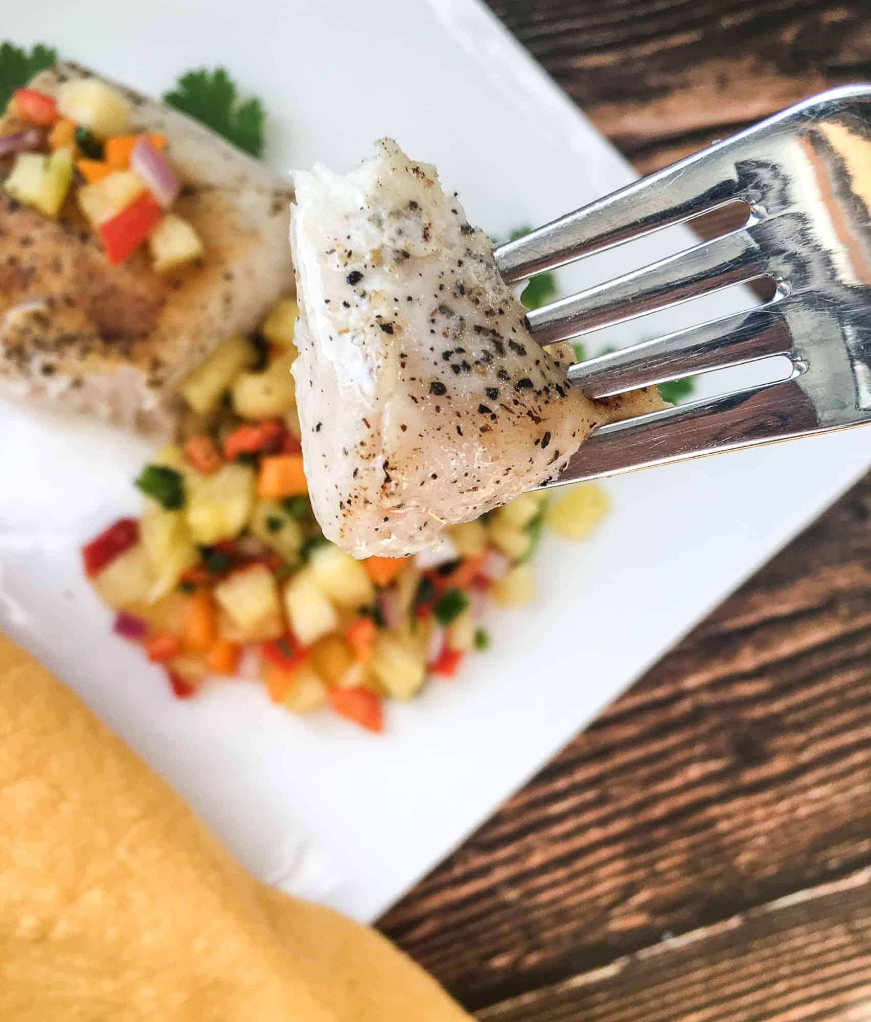 forkful of sous vide swordfish