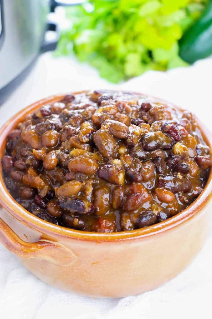 bowl of instant pot chili made with dry beans