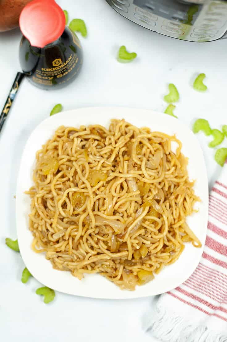 chow mein noodles on white plate