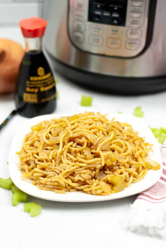 instant pot panda express chow mein noodles on white plate