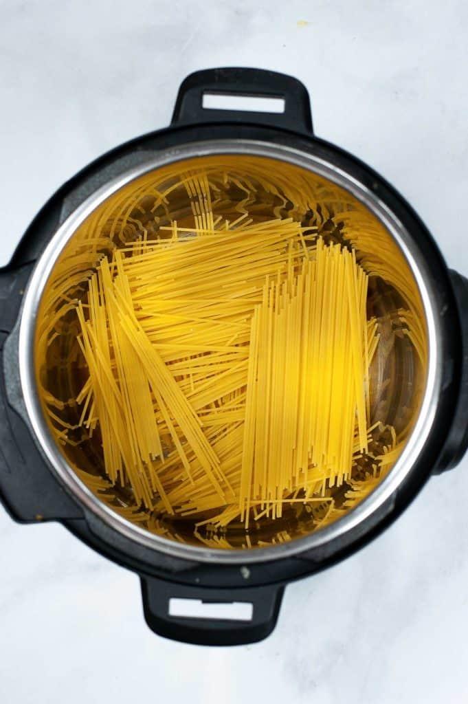 pasta in Instant Pot for carbonara