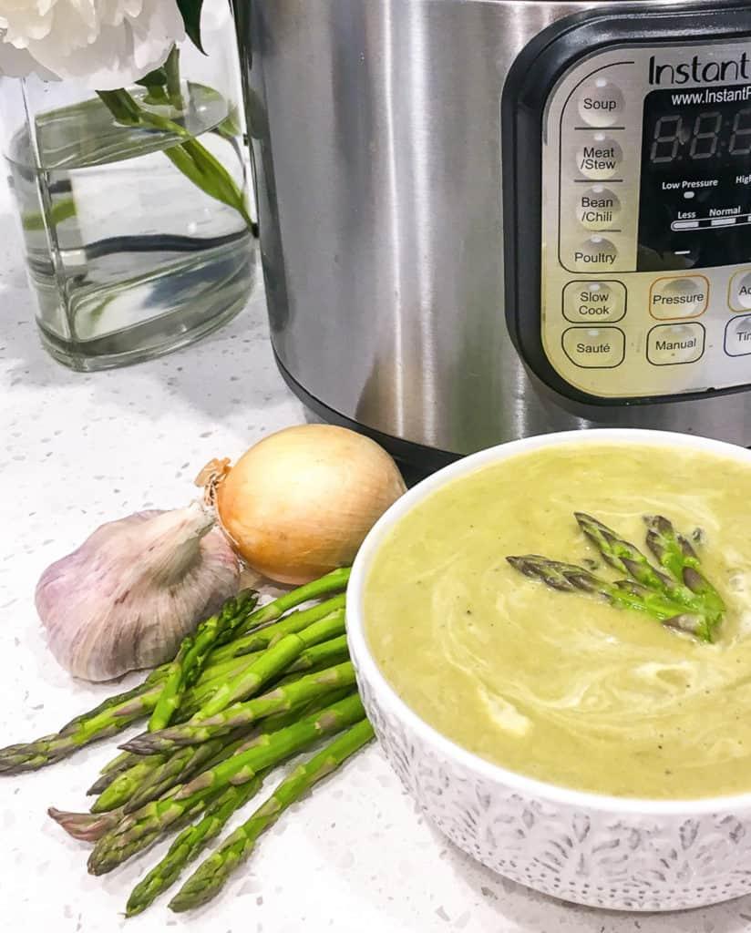 bowl of instant pot asparagus soup