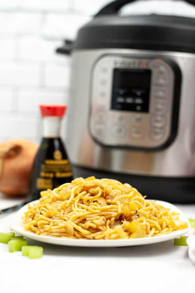 instant pot chow mein on white plate