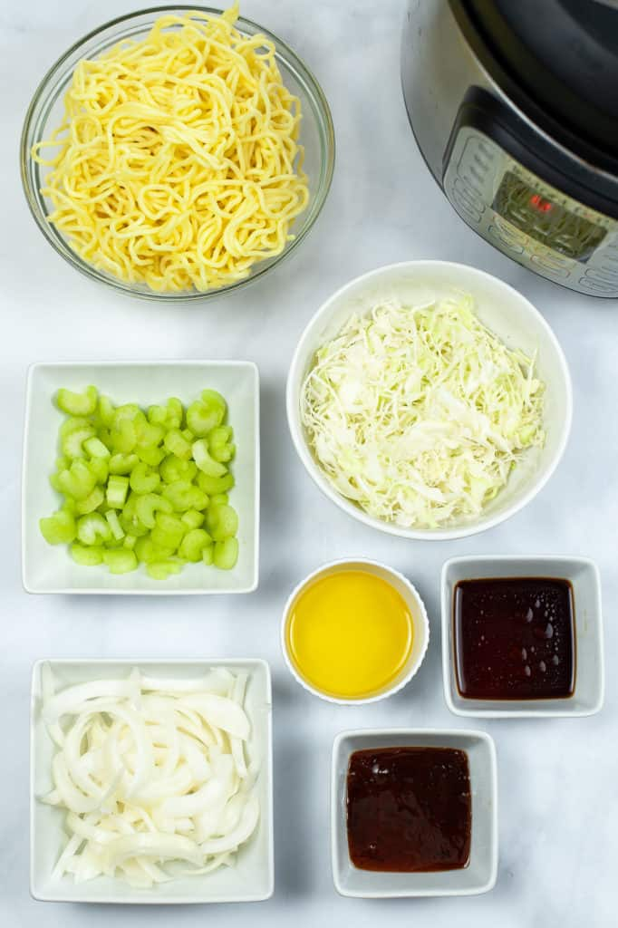 instant pot panda express chow mein ingredients in ingredient bowls