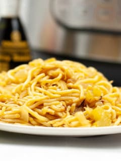 panda express chow mein noodles on white plate