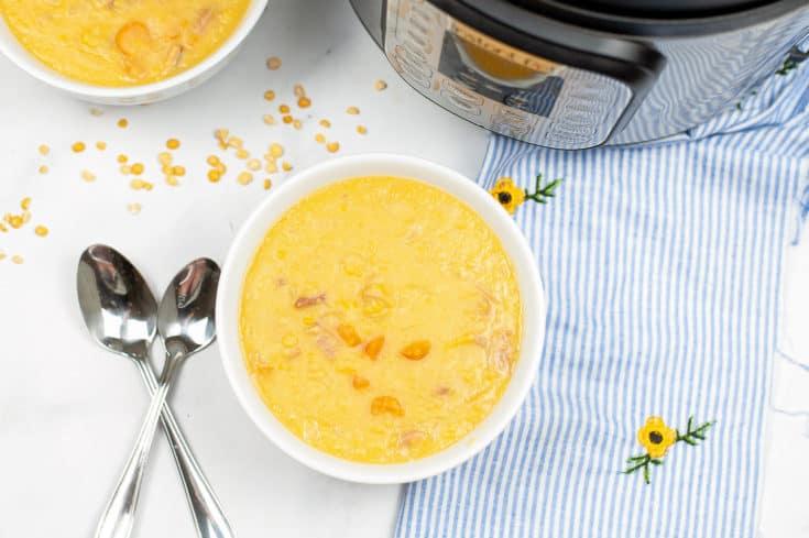 ninja foodi split pea soup in white bowl