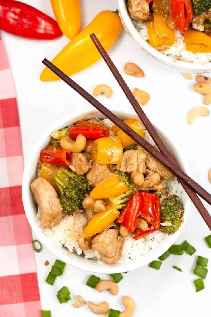 cashew chicken with rice in bowl