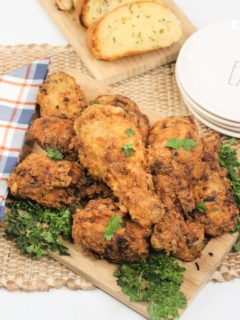 instant pot fried chicken on cutting board