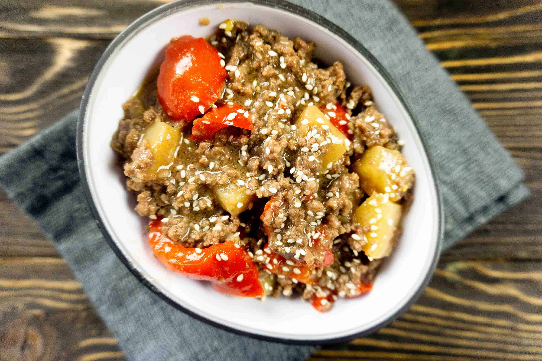 Hawaiian beef stew in bowl