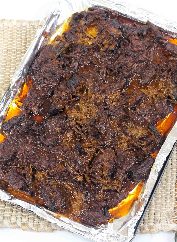 beef barbacoa on baking sheet