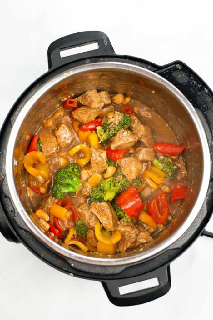 cooked cashew chicken and vegetables in instant pot