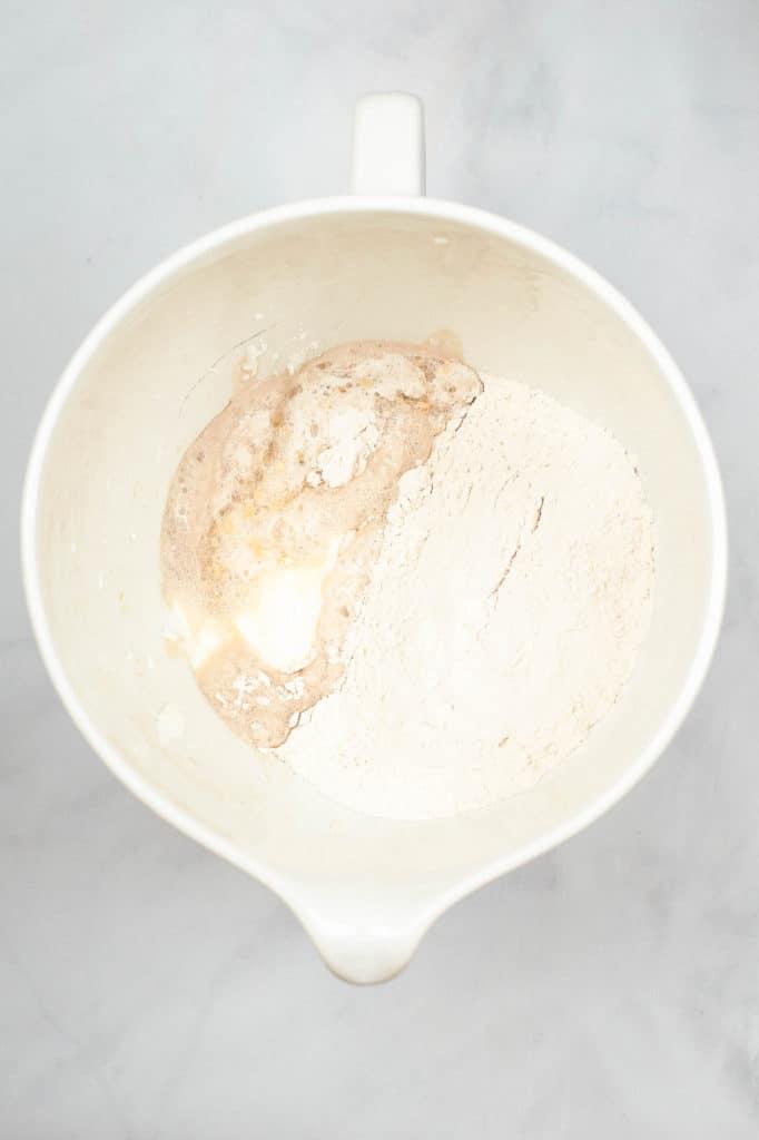 naan ingredients in mixing bowl