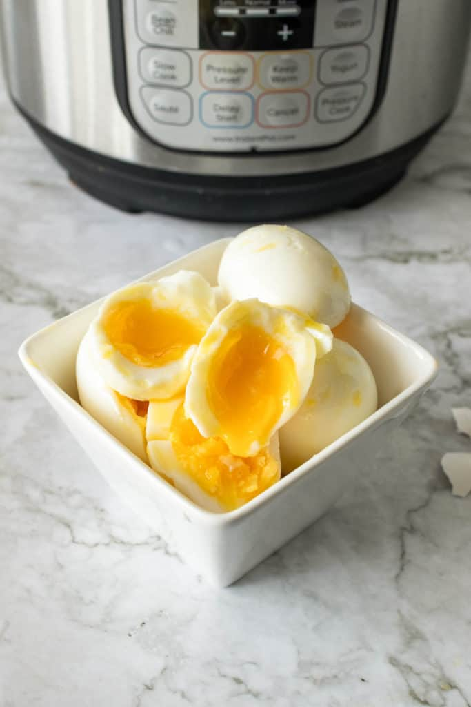 halved soft boiled eggs