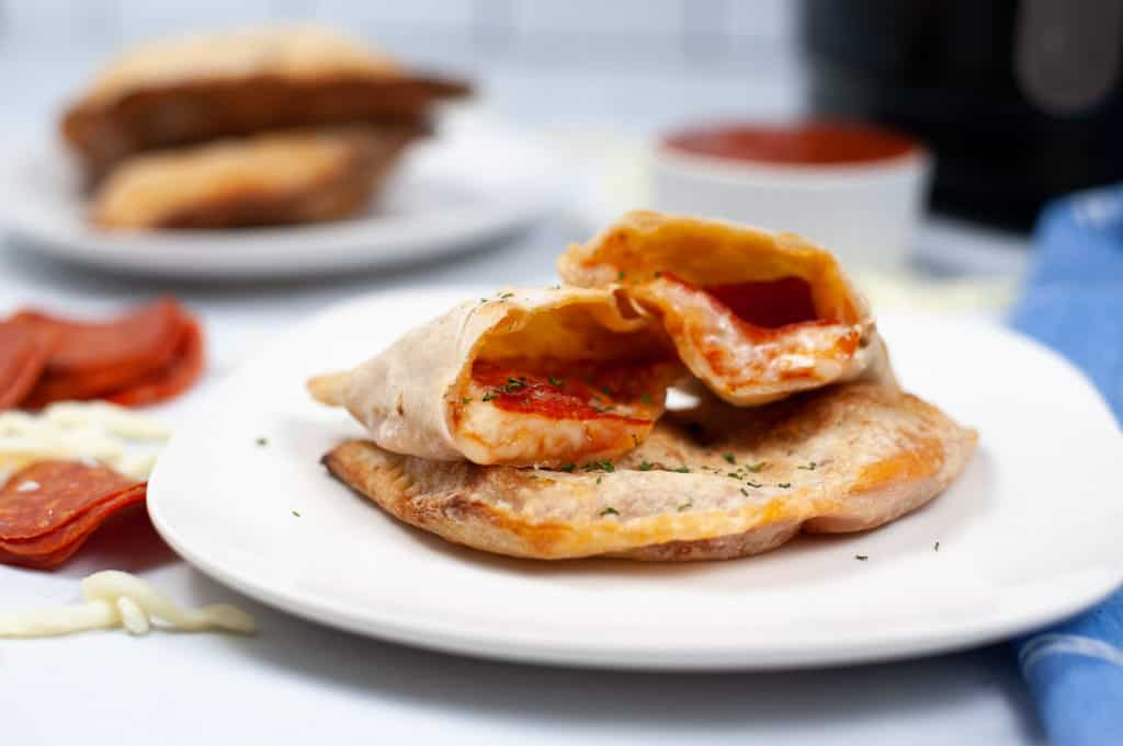 cut open calzone on plate