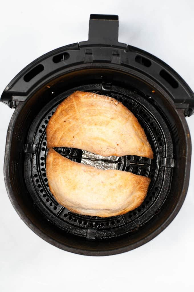 cooked calzone in air fryer