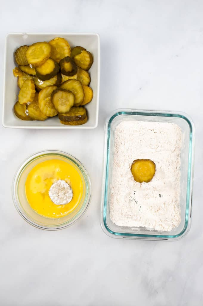 pickle in flour and egg was
