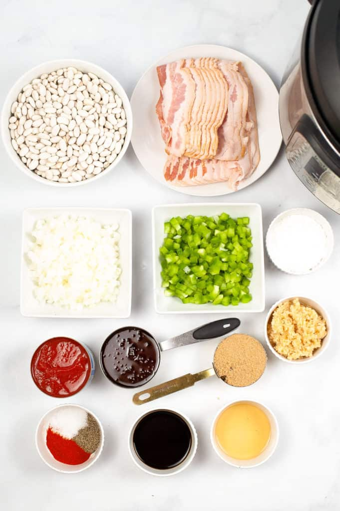 ingredients for baked beans on counter