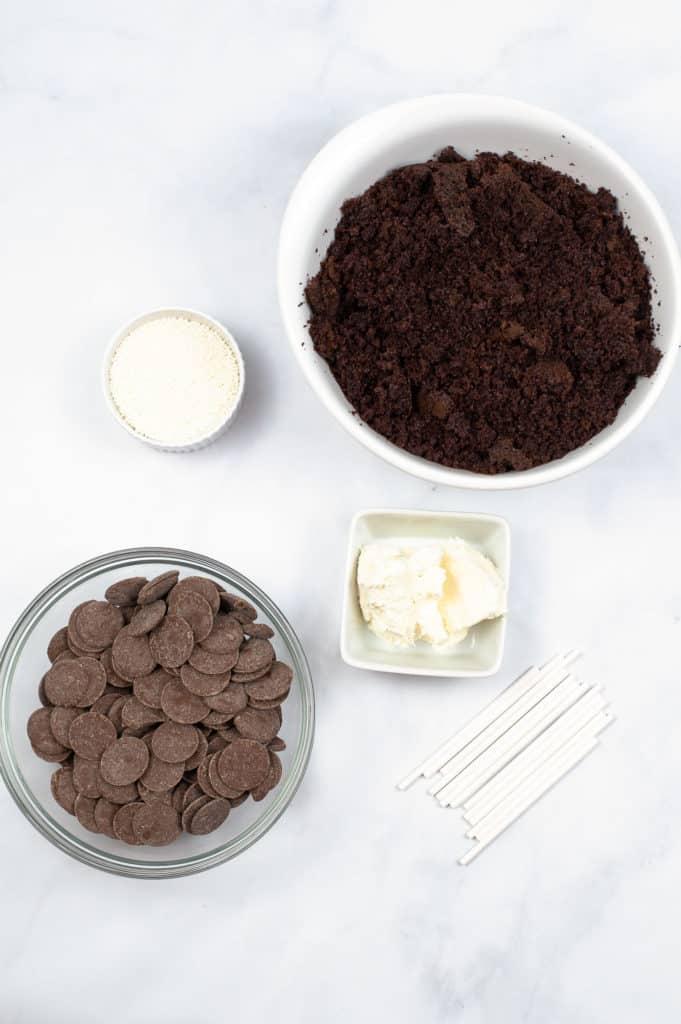 ingredients to make cake pop on white counter