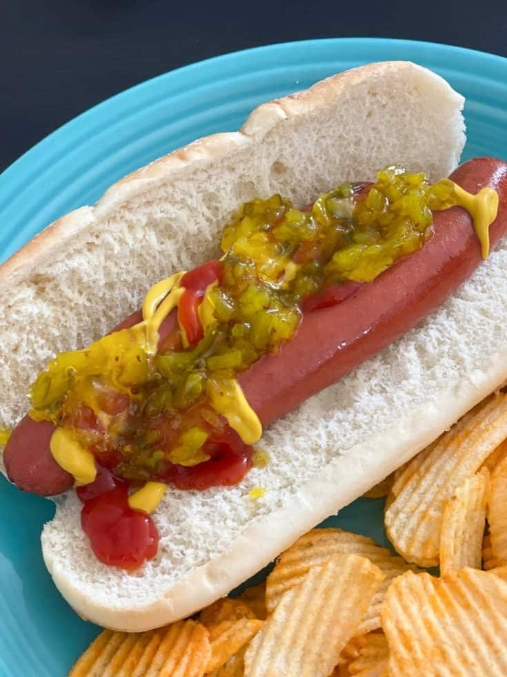 air fryer hot dog on bun